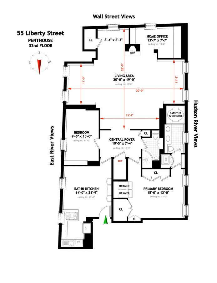 55 Liberty Street Ph32, Financial District, NYC, $2,000,000, Web #: 20783178