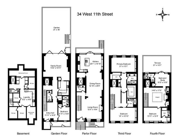 34 West 11th Street, Greenwich Village, NYC, $17,895,000, Web #: 20792665