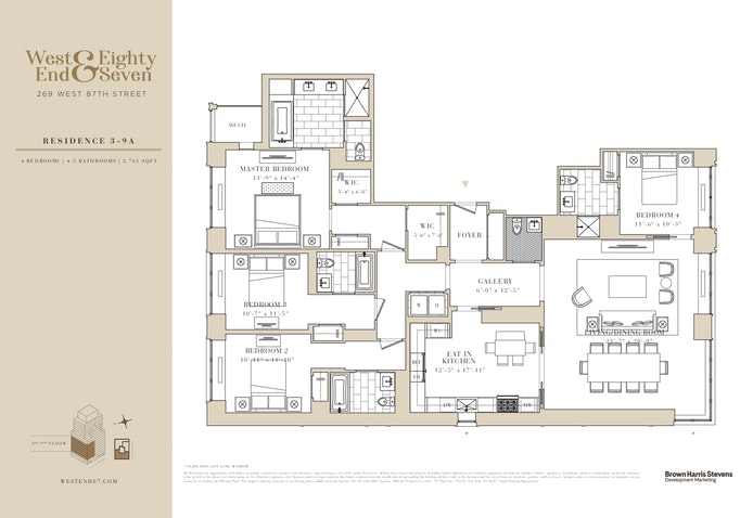 269 West 87th Street 9A, Upper West Side, NYC, $3,840,000, Web #: 20807160