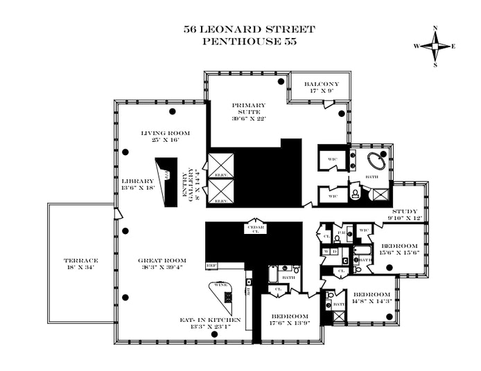 56 Leonard Street Ph55, Tribeca, NYC, $29,500,000, Web #: 20824675