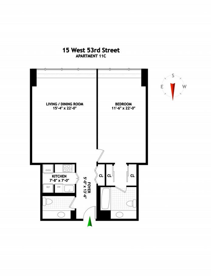 15 West 53rd Street 11C, Midtown West, NYC, $1,080,000, Web #: 20858854