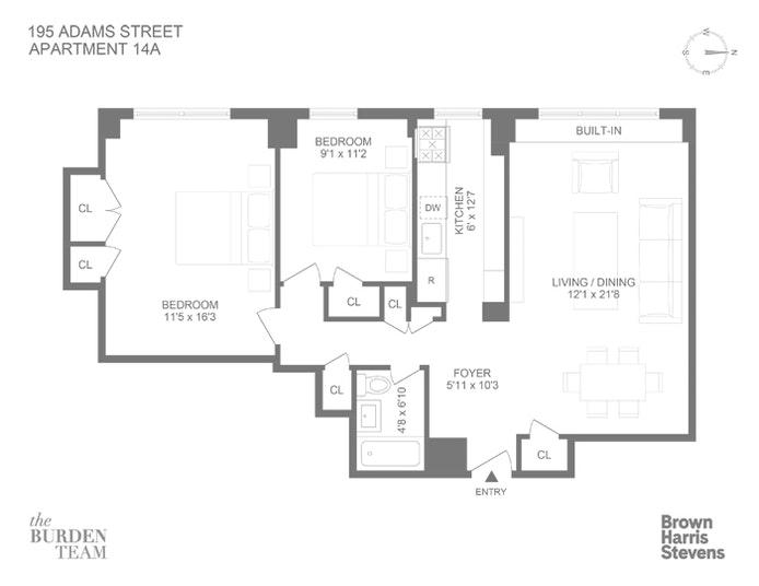195 Adams Street 14A, Brooklyn Heights, New York, $799,000, Web #: 20869777