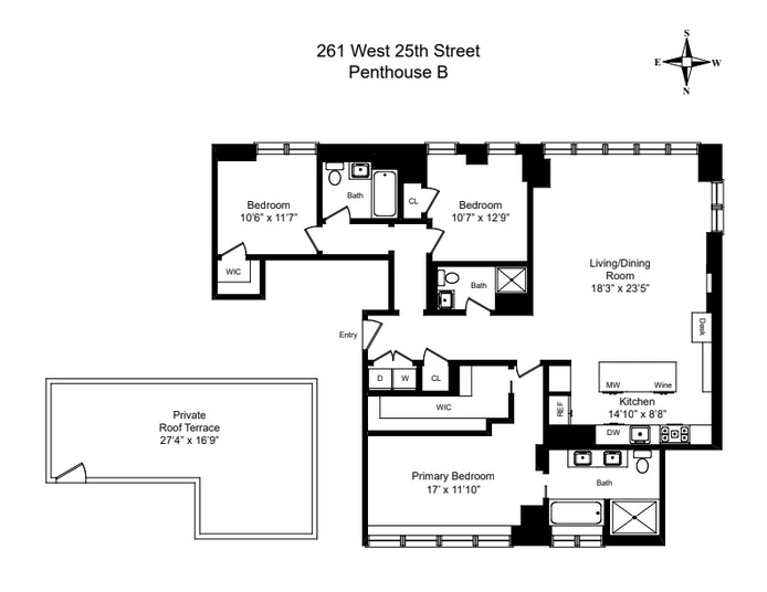 261 West 25th Street Phb, Chelsea, NYC, $3,995,000, Web #: 20869838