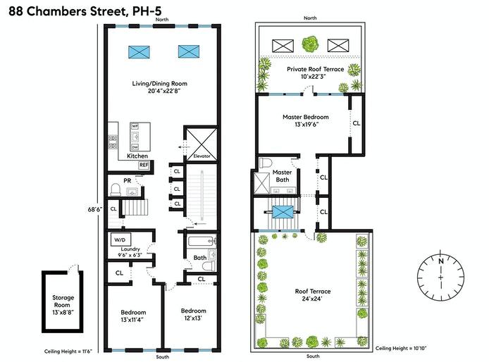 88 Chambers Street Ph5/6, Tribeca, NYC, $3,950,000, Web #: 20898041