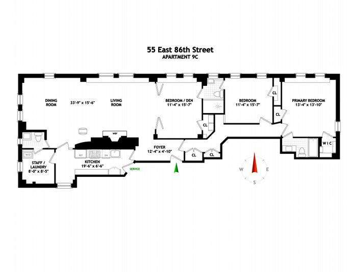 55 East 86th Street 9C, Upper East Side, NYC, $3,285,000, Web #: 20918173