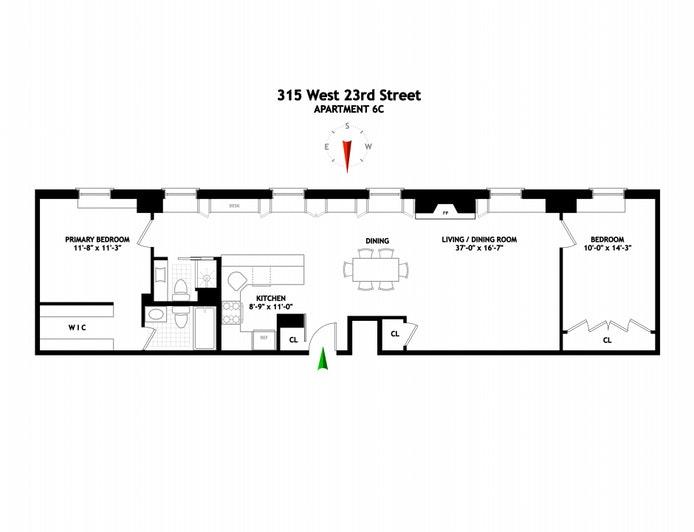 315 West 23rd Street 6C, Chelsea, NYC, $1,749,000, Web #: 20919219