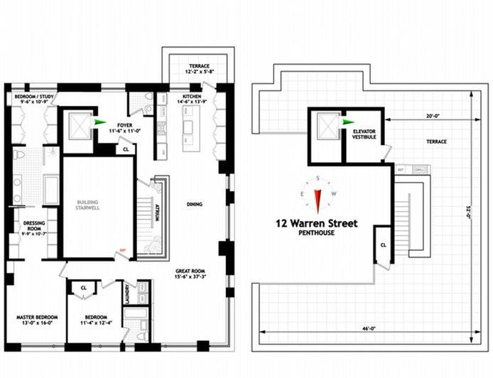12 Warren Street Ph, Tribeca, NYC, $5,649,000, Web #: 20933484