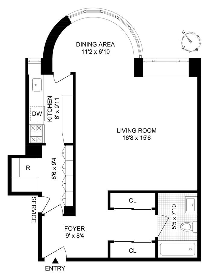 24 West 55th Street 2C, Midtown West, NYC, $450,000, Web #: 20960986