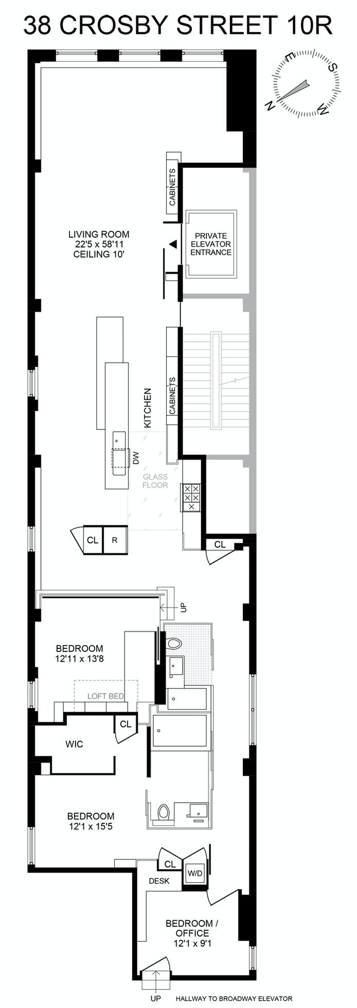 38 Crosby Street 10R, Soho, NYC, $2,950,000, Web #: 21191787