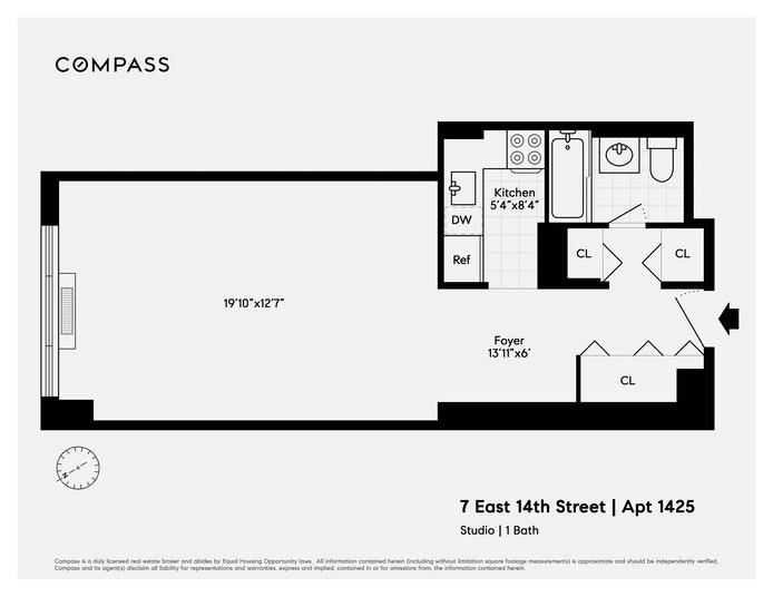 7 East 14th Street 1425, Flatiron, NYC, $495,000, Web #: 21262577