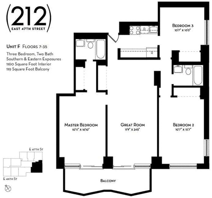 212 East 47th Street 7F, Midtown East, NYC, $6,200, Web #: 21265462