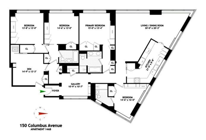 150 Columbus Avenue 14Ab, Upper West Side, NYC, $5,850,000, Web #: 21297449
