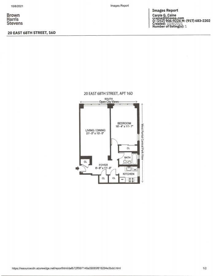 20 East 68th Street 16D, Upper East Side, NYC, $5,200, Web #: 21338625