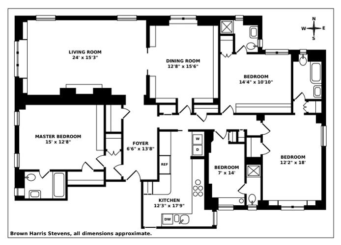 1 Pierrepont Street 6B, Brooklyn Heights, New York, $4,600,000, Web #: 21348940