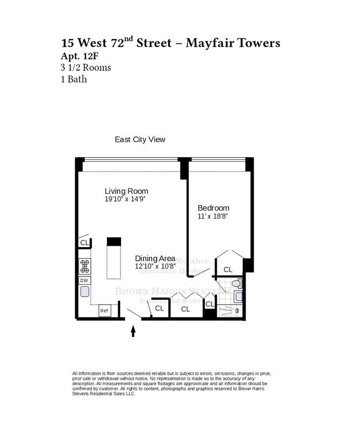 15 West 72nd Street 12F, Upper West Side, NYC, $1,350,000, Web #: 21350465