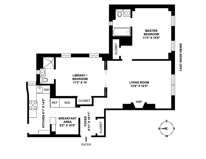 444 East 52nd Street, Midtown East, NYC, $1,200,000, Web #: 4033840
