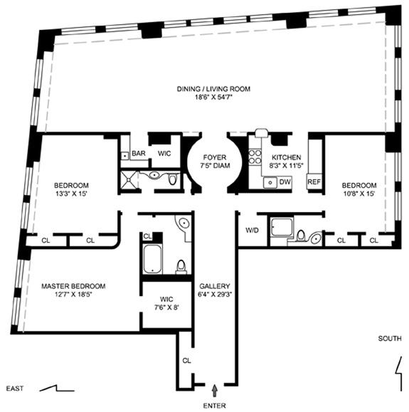 55 Liberty Street, Financial District, NYC, $1,415,500, Web #: 967650
