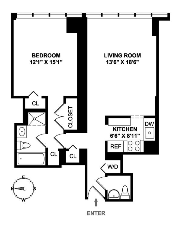 160 West 66th Street, Upper West Side, NYC, $1,450,000, Web #: 9842815